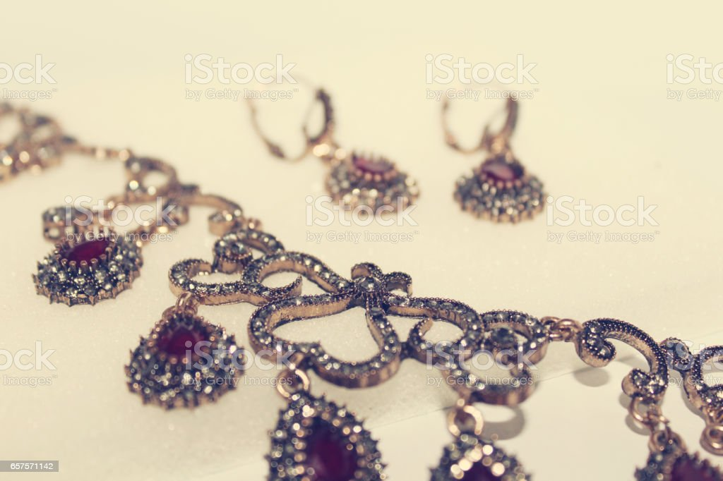 necklace and earring stock photo