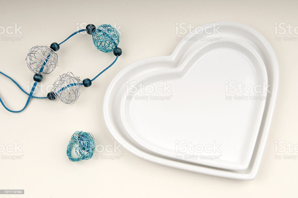 Necklace and Ring with Two Hearts royalty-free stock photo