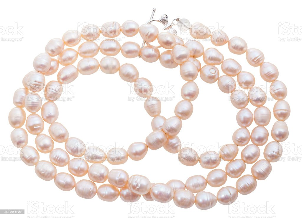necklace from natural pink river pearls isolated stock photo