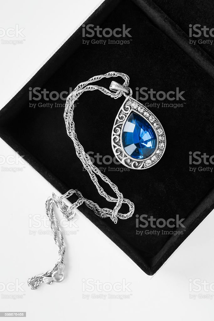 Necklace in a box stock photo