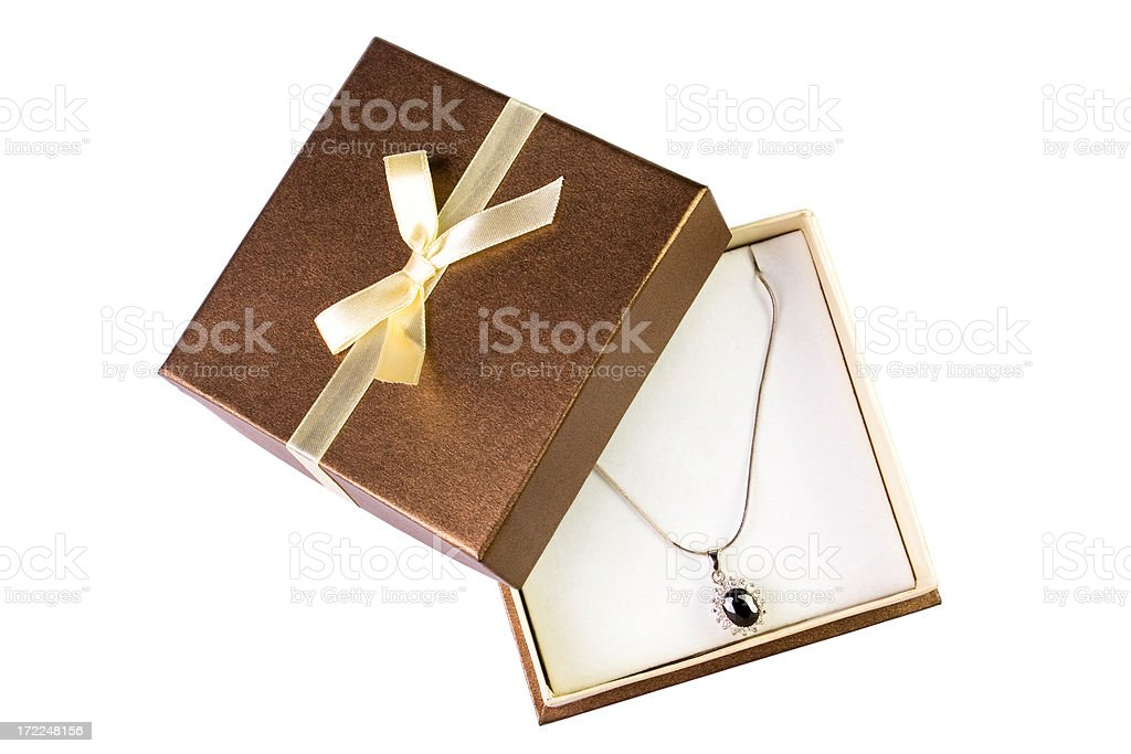 Necklace In a Gift Box stock photo