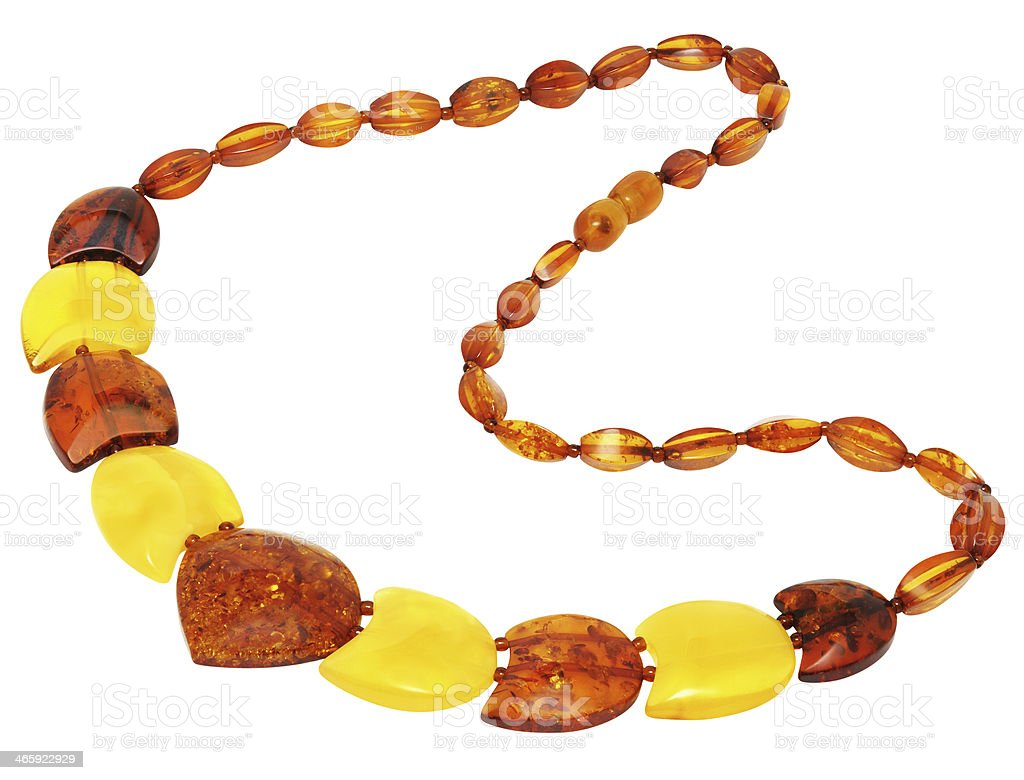 Necklace made of natural Baltic amber royalty-free stock photo