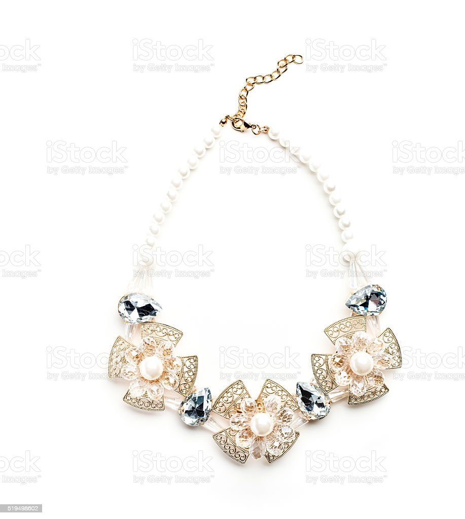 necklace made of pearl beads and metallic lace stock photo