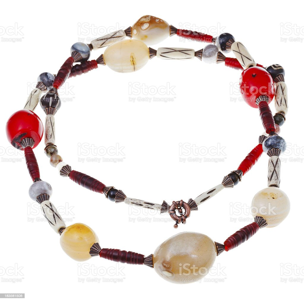 necklace of lagate, red coral, carved horn, bone royalty-free stock photo