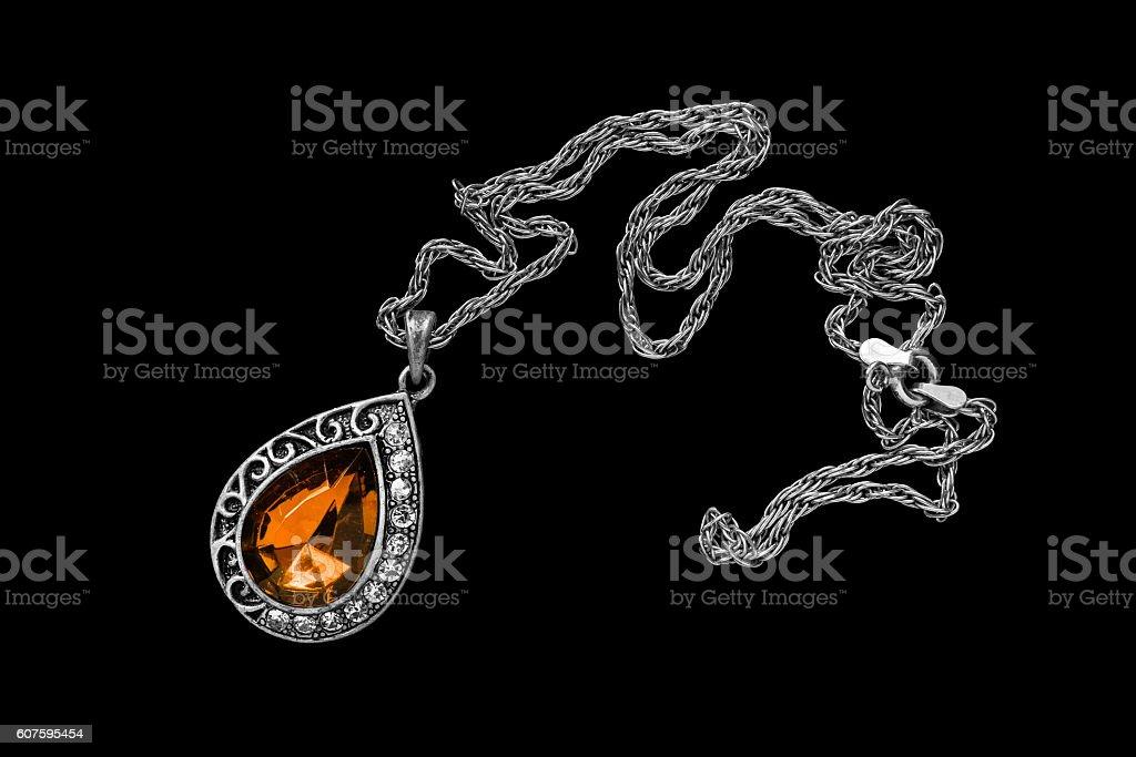 Necklace on black stock photo