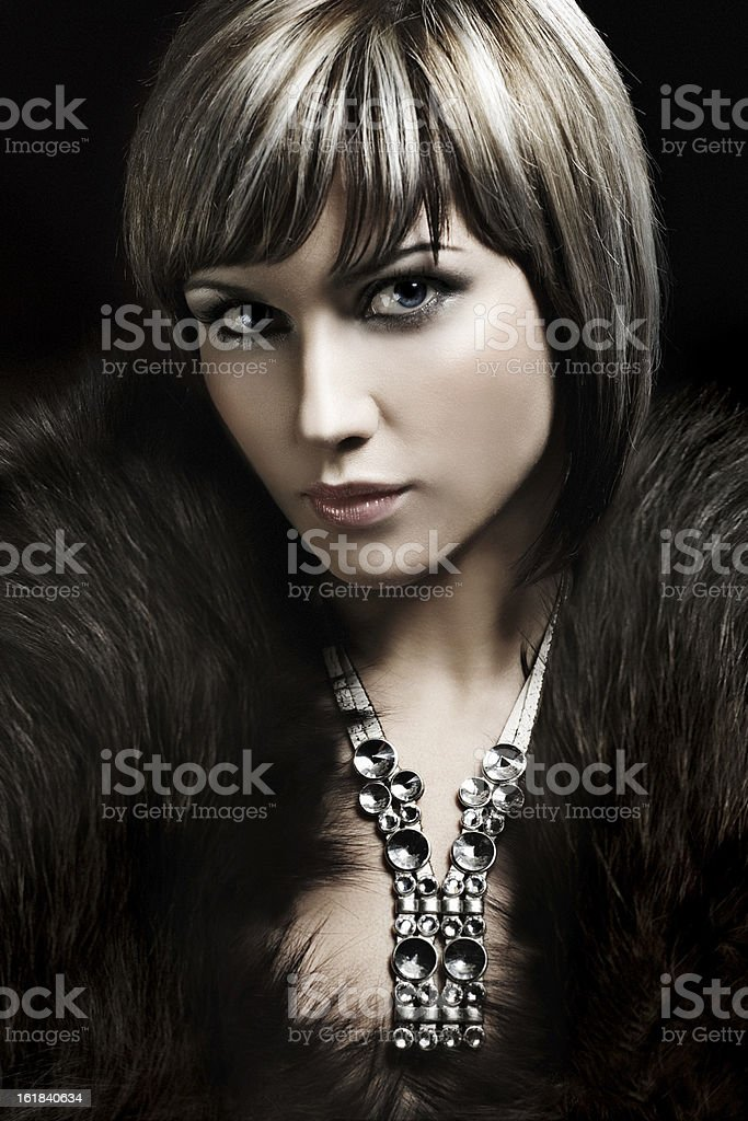 necklace on woman's neck royalty-free stock photo