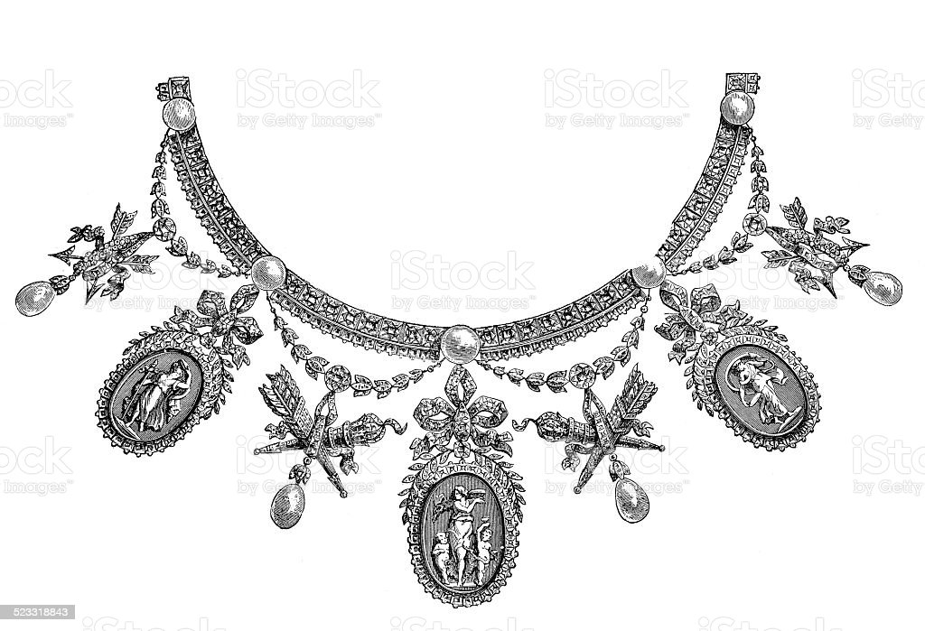 Necklace - Parure (Louis XVI.), by Boucheron (antique engraving) vector art illustration