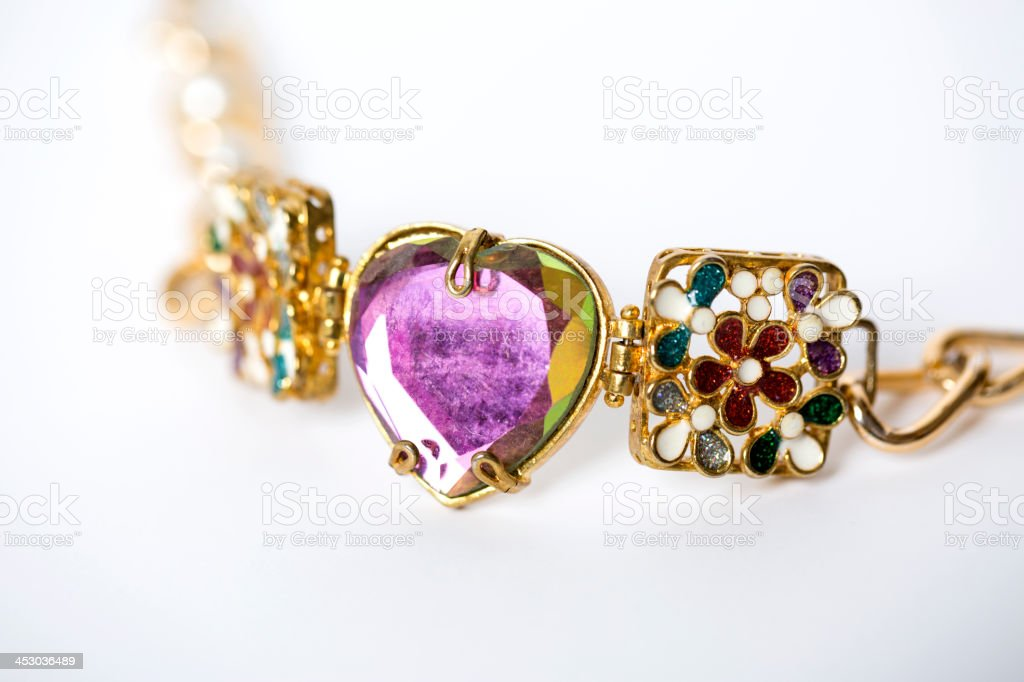 Necklace with heart shaped diamond. stock photo