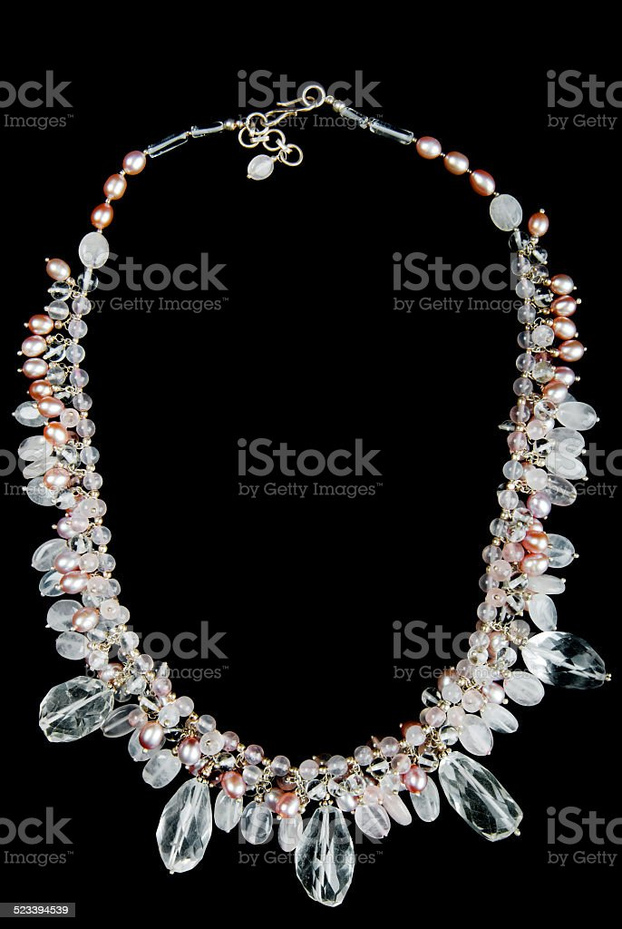 Necklace with Pearls, Stones and Beads stock photo