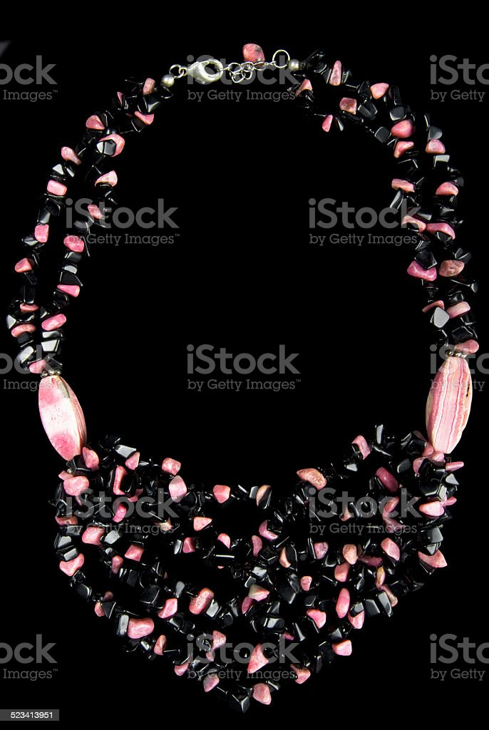 Necklace with Pink and Black Stones stock photo