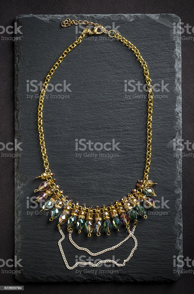 Necklace with stones stock photo