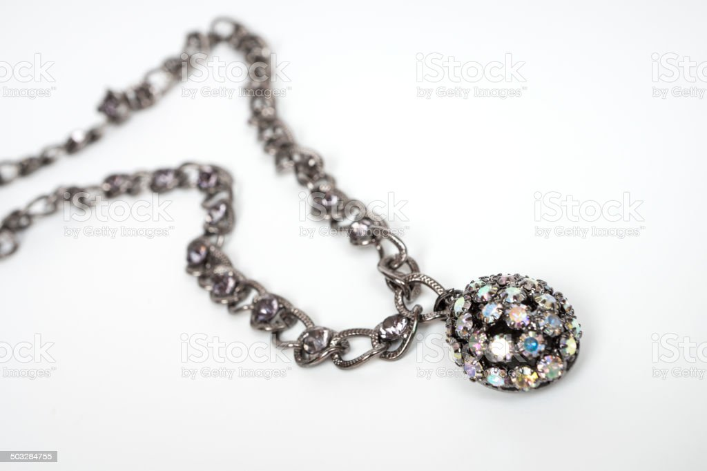 necklace with swarovski crystals stock photo