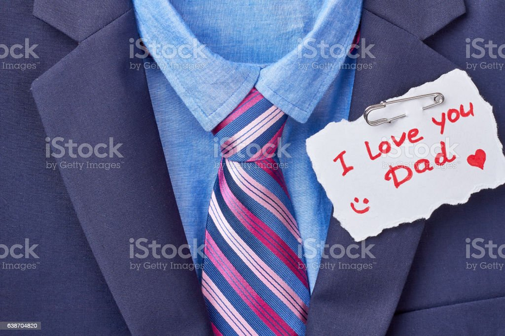 Necktie and Father's Day card. stock photo