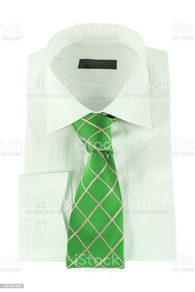 Necktie on a shirt stock photo