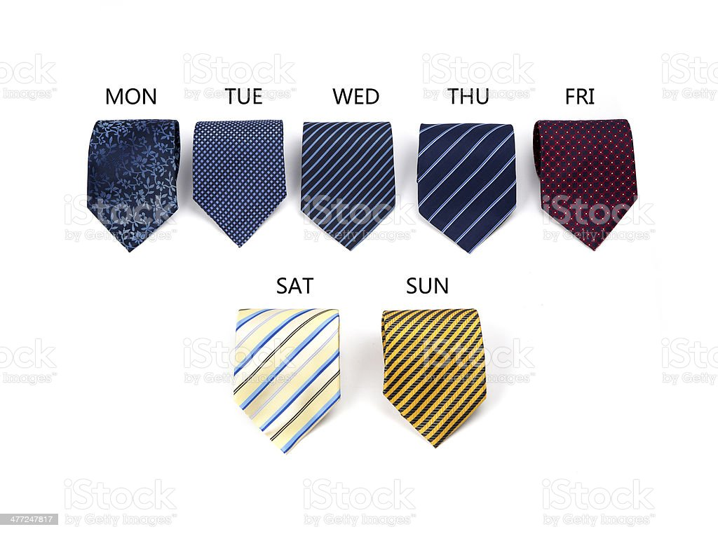 Necktie set a week stock photo