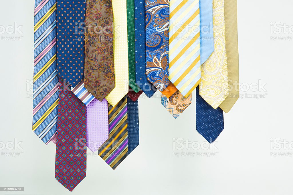 Neckties hanging in a row stock photo