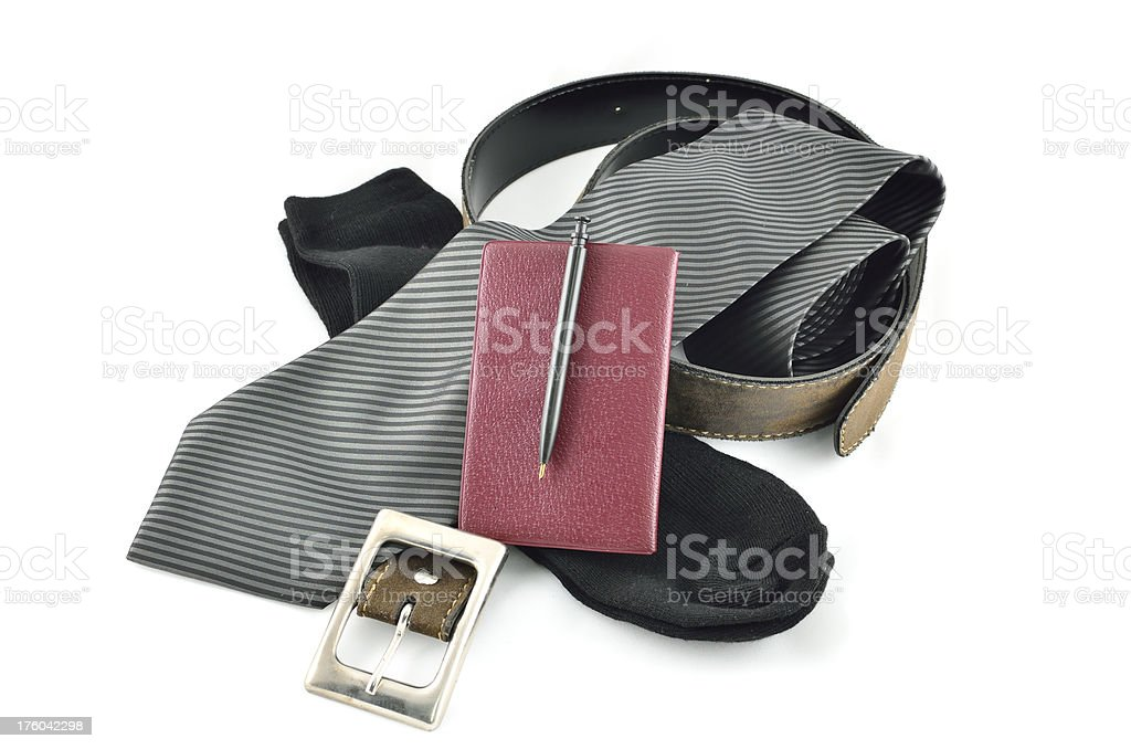 necktie,socks,belt and notebook.a set for business man royalty-free stock photo