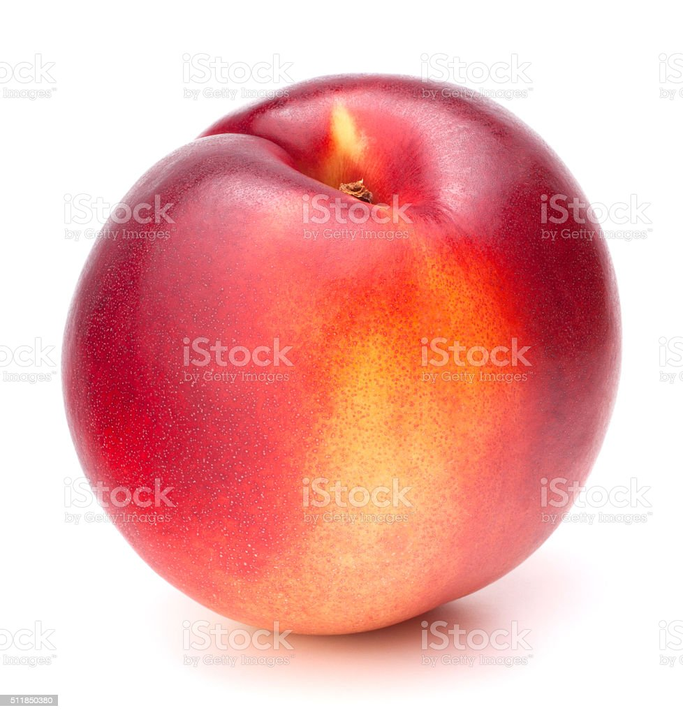 Nectarine fruit isolated on white background cutout stock photo