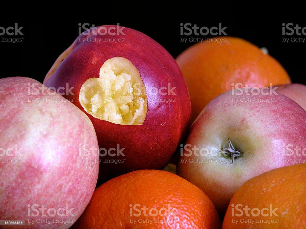 Nectarine Heart royalty-free stock photo