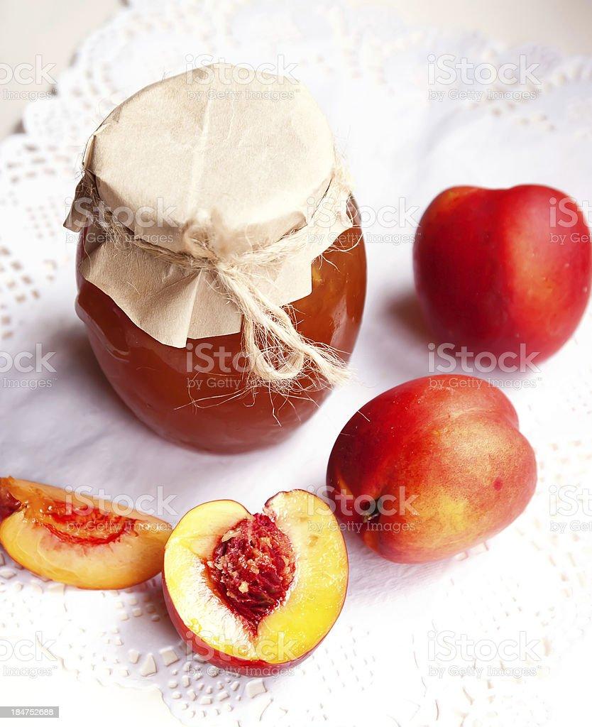 Nectarine jam stock photo