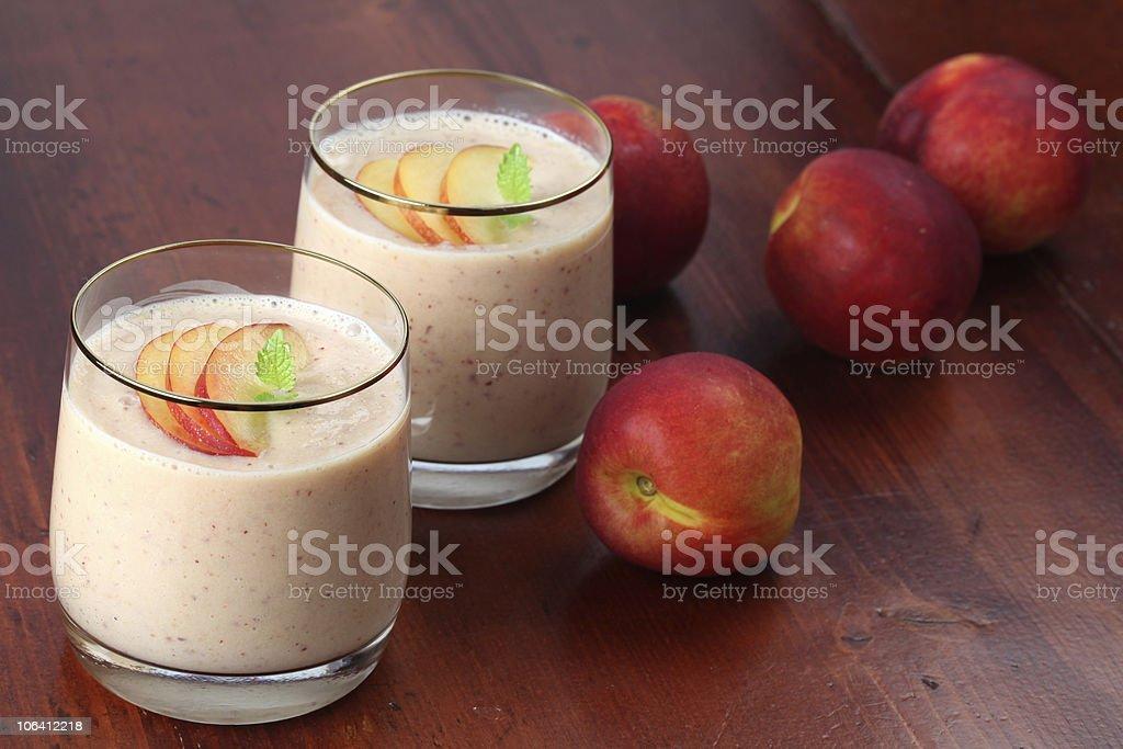 Nectarine milk shake royalty-free stock photo