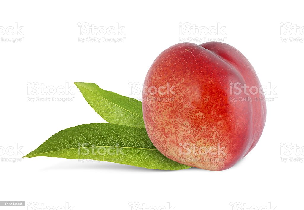 nectarine with green leaves royalty-free stock photo
