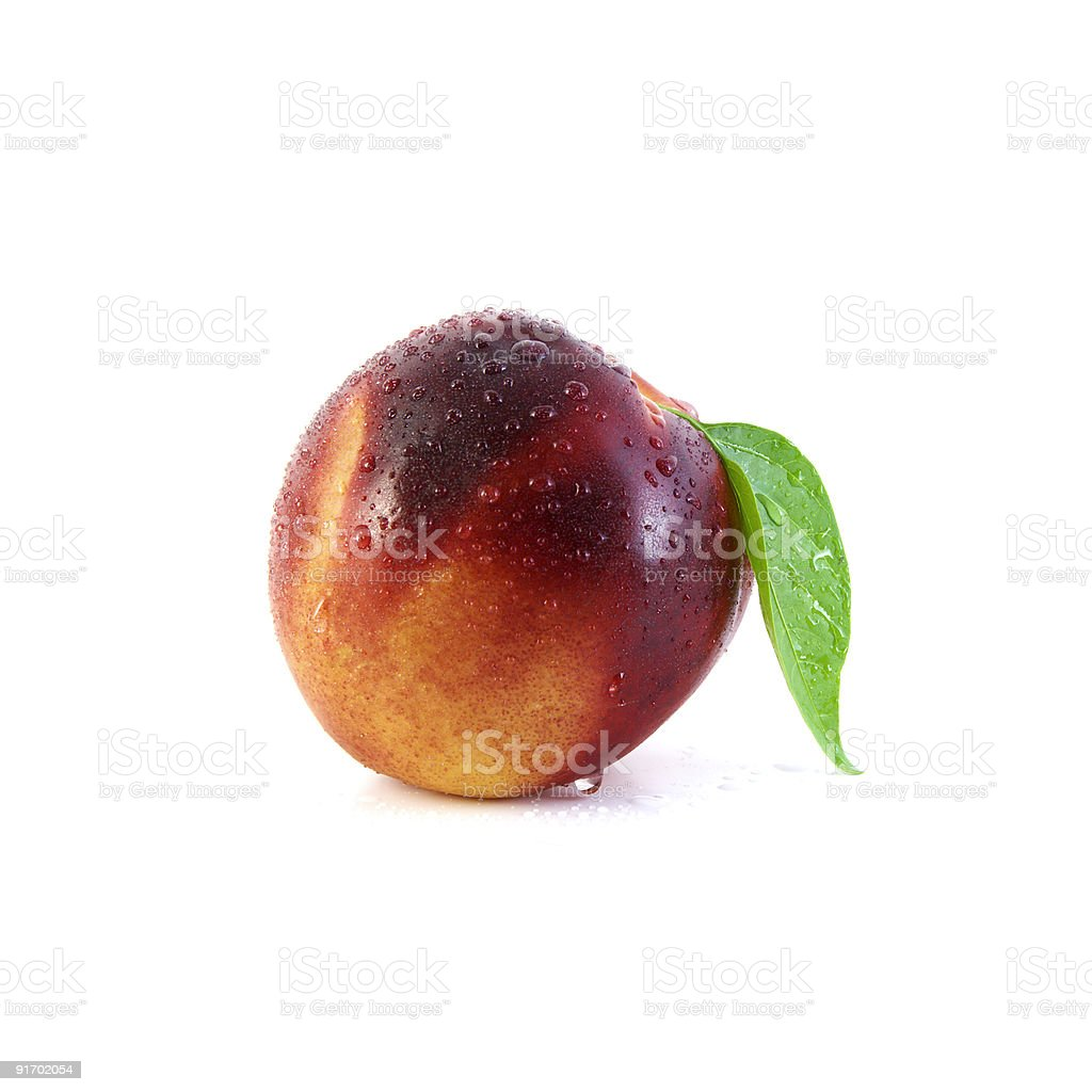 Nectarine with Leaf royalty-free stock photo