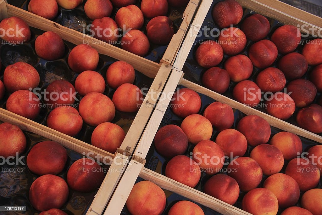 Nectarines at a market royalty-free stock photo
