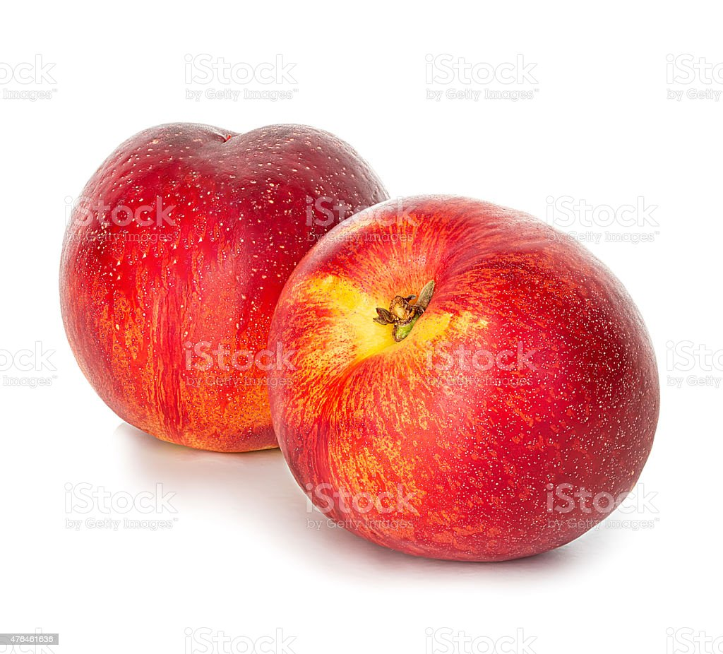 Nectarines isolated on white background stock photo