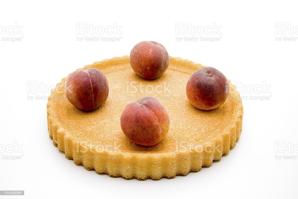 Nectarines on flan case and stock photo