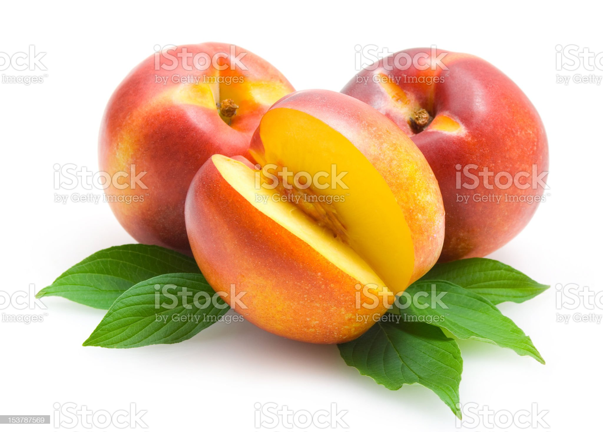 nectarines with leaves royalty-free stock photo