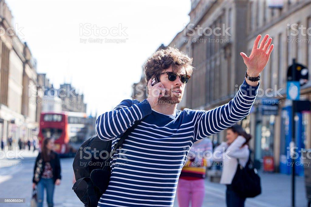 I need a taxi! stock photo