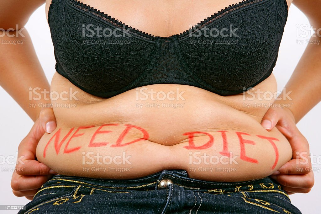 Need diet - overweight female belly royalty-free stock photo