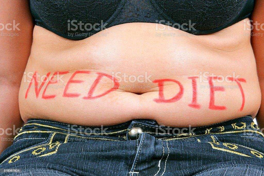 Need diet - overweight female belly stock photo
