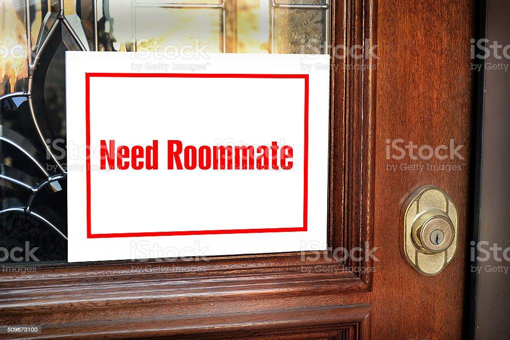 Need Roommate Sign. stock photo