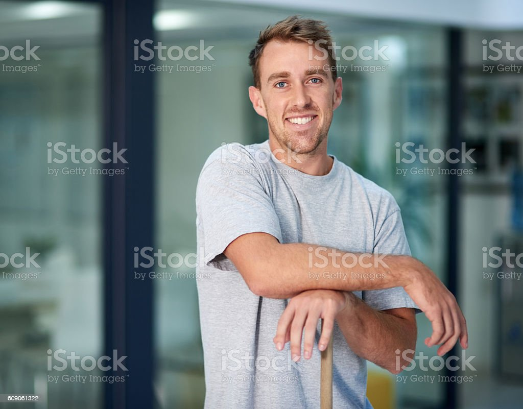 Need something cleaned? I'm your man! stock photo