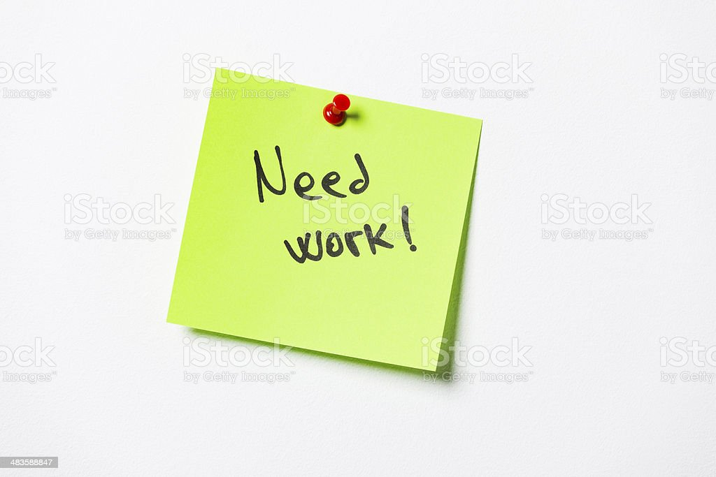 Need work post-it stock photo