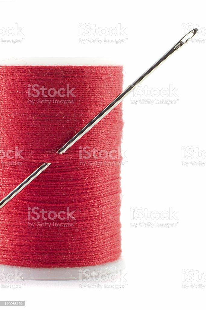 Needle and cotton stock photo