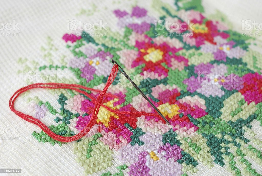 Needle and embroidery stock photo