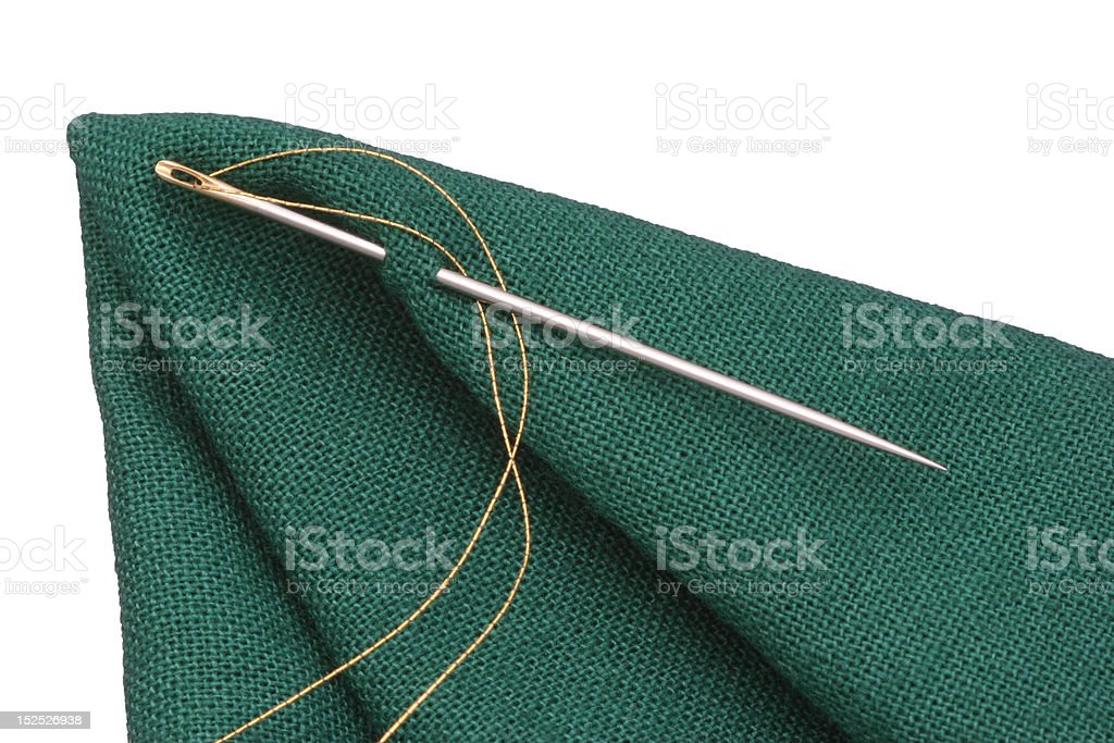 needle and golden thread royalty-free stock photo
