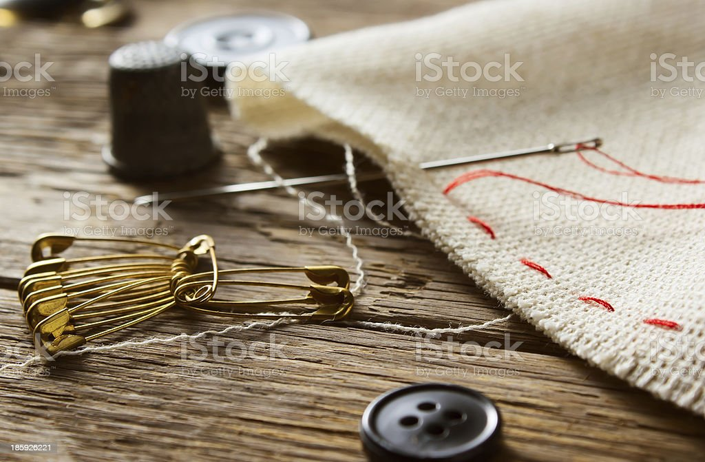 Needle and thimble royalty-free stock photo