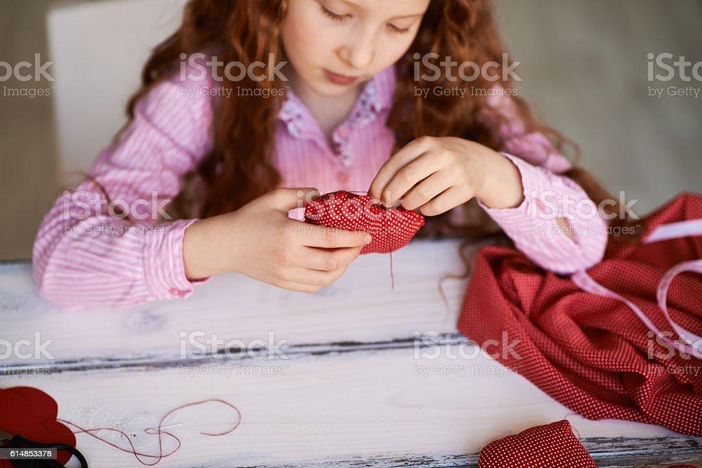 Needle girl stock photo