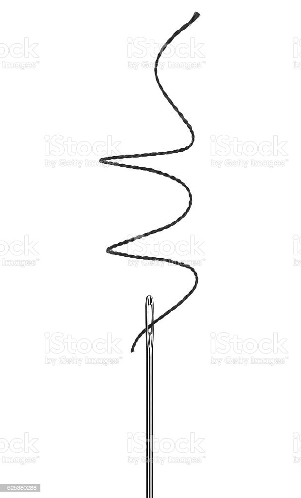 needle with a black thread close up isolated on white stock photo