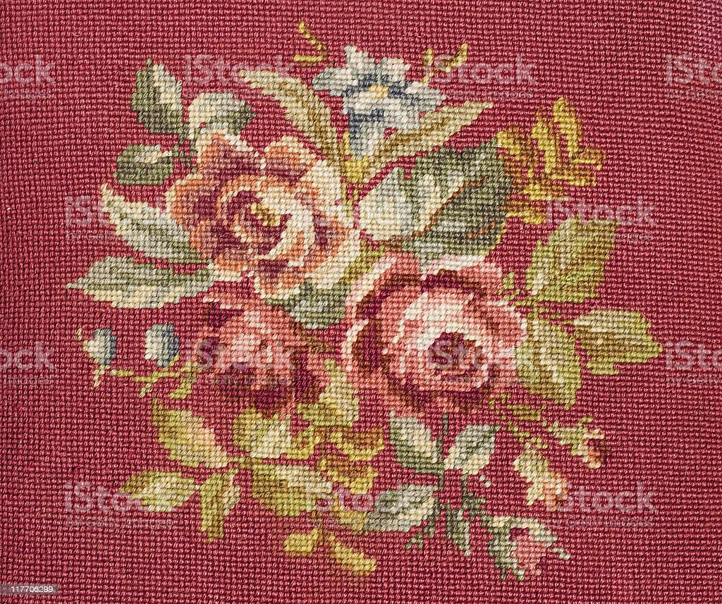 needlepoint with roses royalty-free stock photo