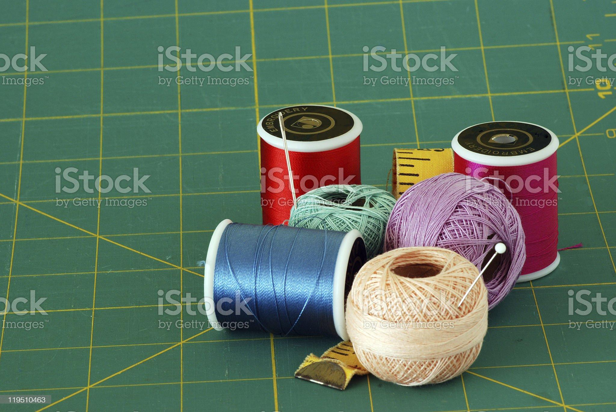 Needles and thread royalty-free stock photo