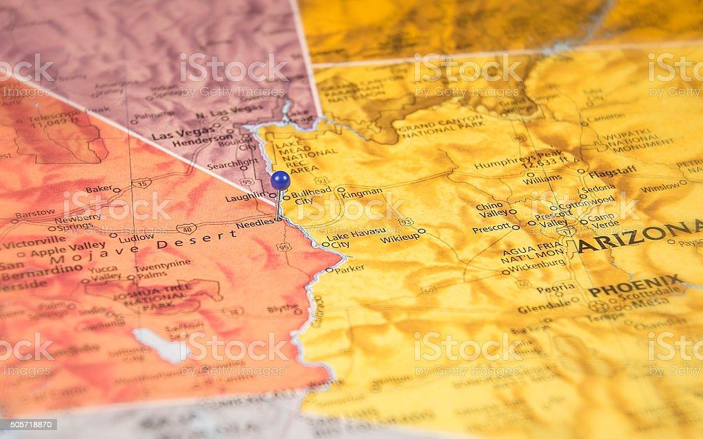 Needles California Travel Road Map Macro stock photo