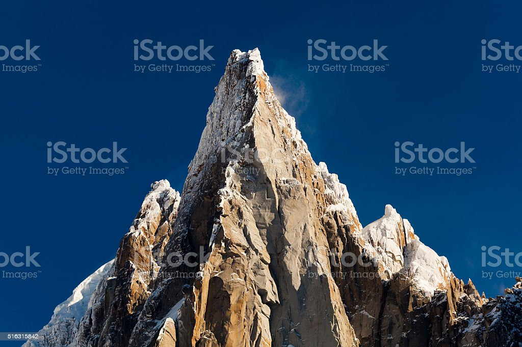 Aiguilles du Alpes from the Mer de Glace stock photo
