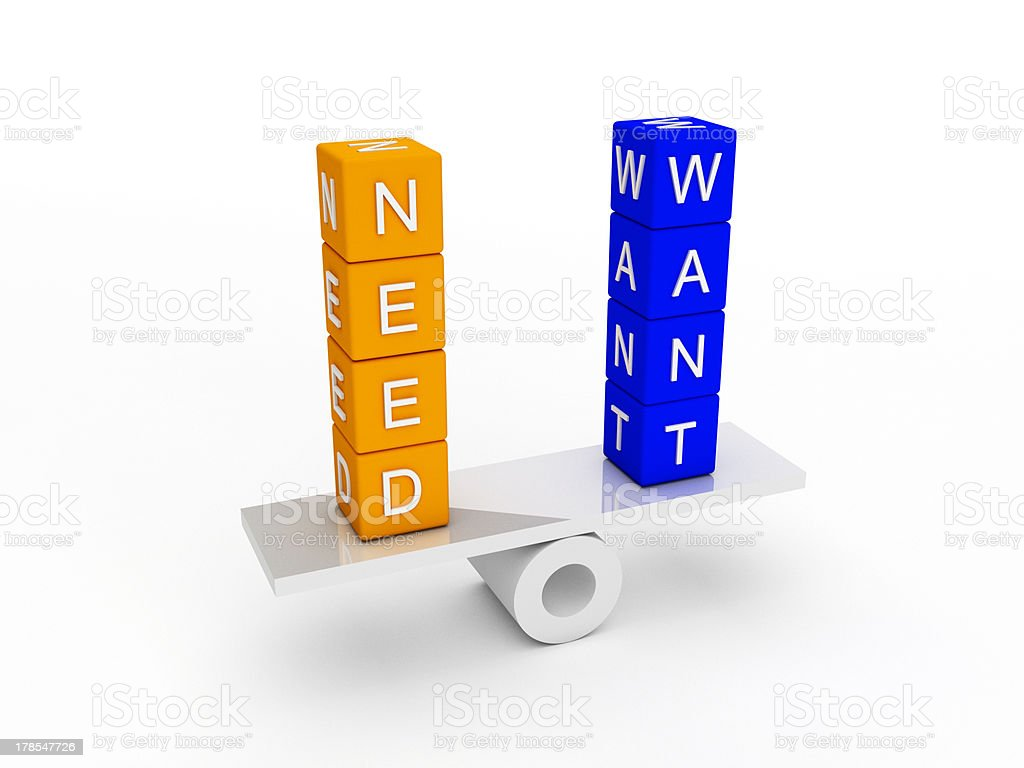 needs and wants balance royalty-free stock photo