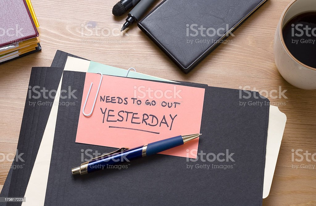 Needs to go out yesterday royalty-free stock photo