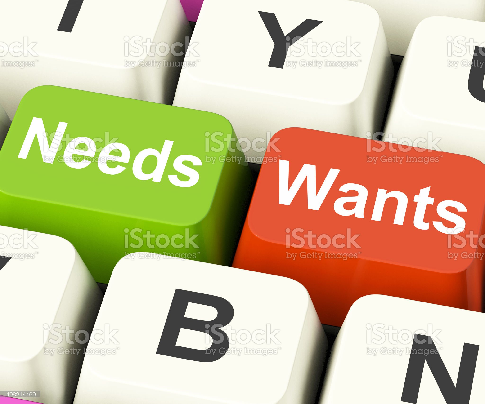 Needs Wants Keys Show Necessities And Wishes royalty-free stock photo